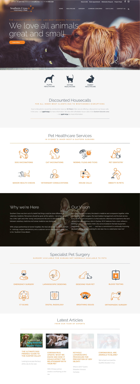 Casestudy - Southern Cross Vet Homepage Website Design